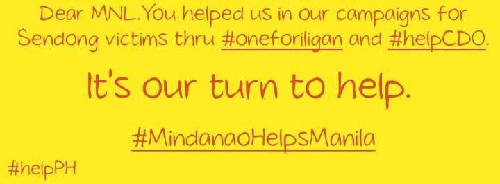 #MindanaoHelpsManila, help cdo, one for iligan, typoon sendong